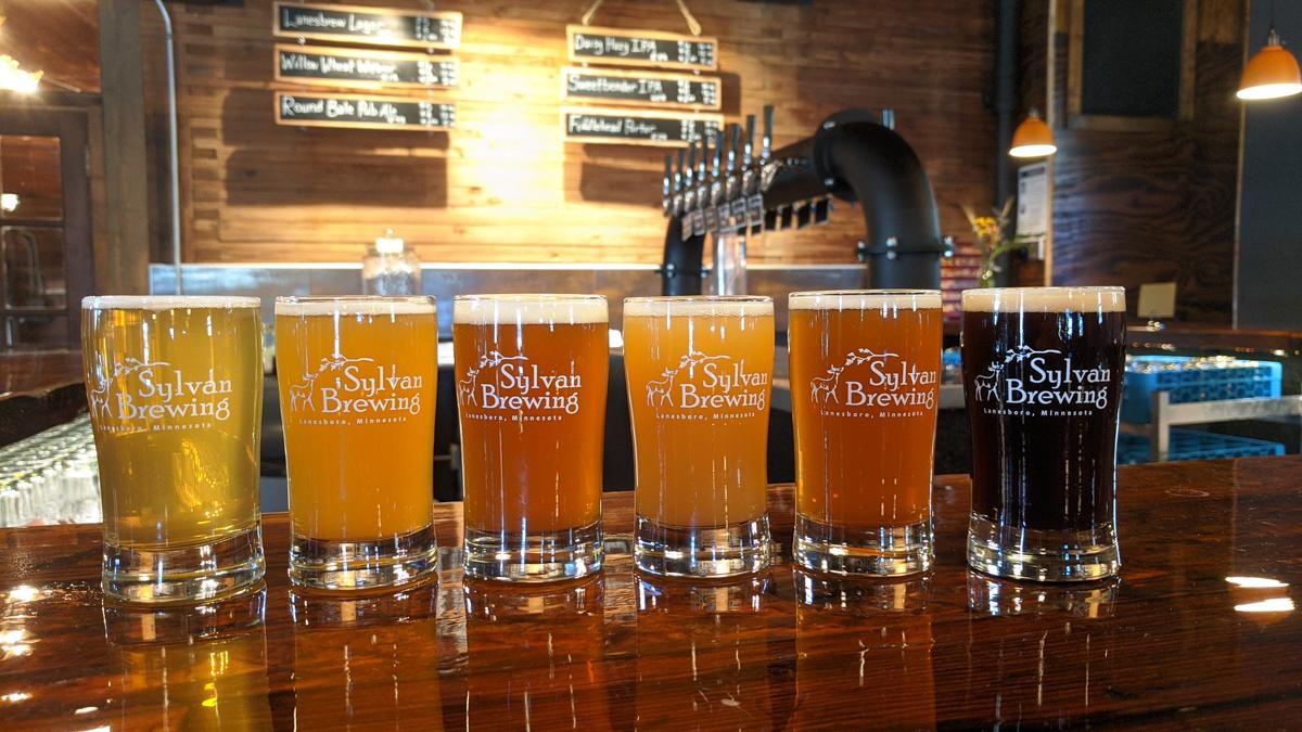 Beer flight at Sylvan Brewing • Photo Taps at Sylvan Brewing in Lanesboro, Minnesota • Photo via Sylvan Brewing