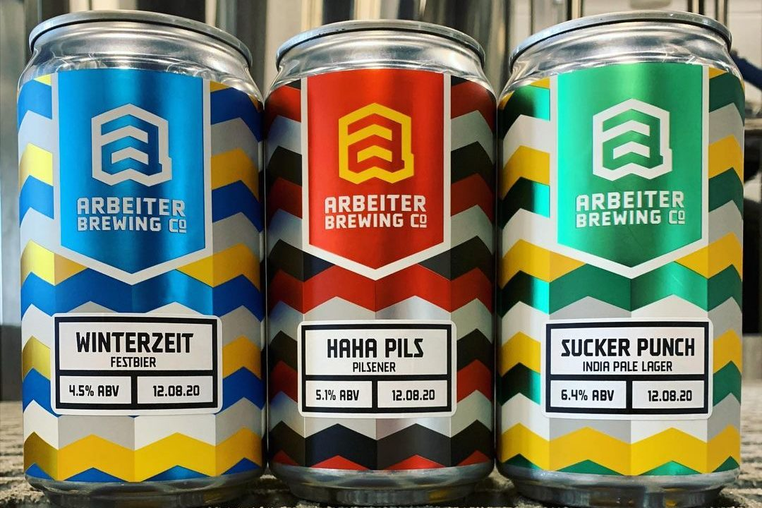 Arbeiter Winterzeit, Haha Pils, and Sucker Punch • Photo via Arbeiter Brewing
