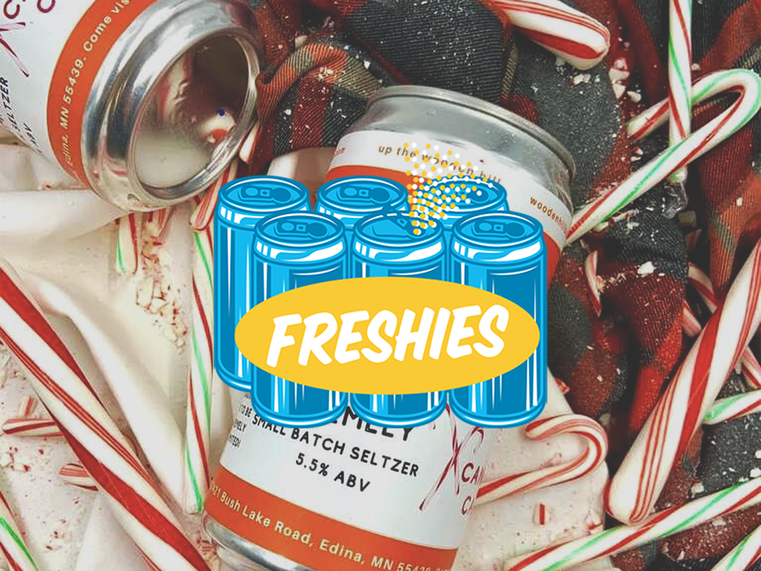 Wooden Hill's candy cane hard seltzer • Photo via Wooden Hill Brewing Company