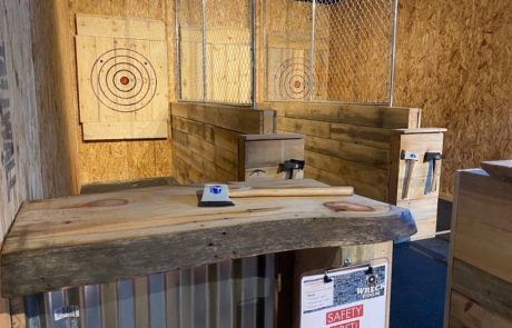 Axe-Throwing in the Wreck Room at Roundhouse Brewery's Nisswa facility • Photo via Roundhouse Brewery