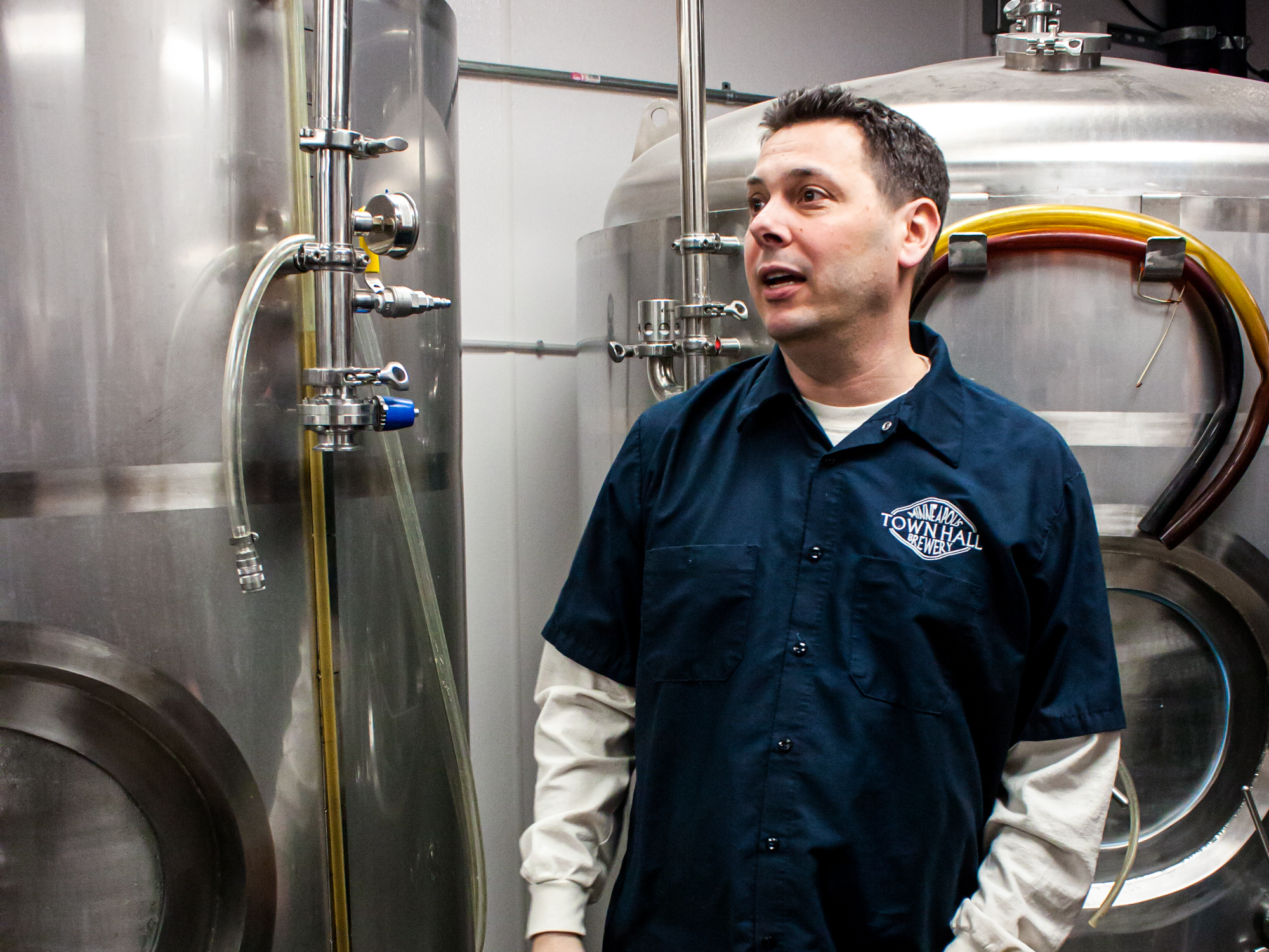 Pete Rifakes giving a tour of Minneapolis Town Hall Brewery in 2014 • Photo by Brian Kaufenberg