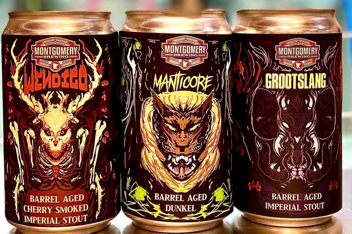 Montgomery Brewing Wendigo, Manticore, and Grootslang • Photo via Montgomery Brewing Company